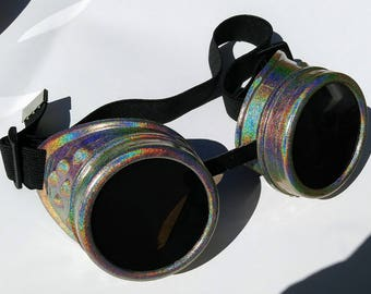 Octopunx Holographic Champagne Limited Edition Hand Painted Mix and Match Steampunk Goggles - STEP ONE - Body and Rims