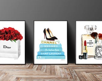 Set of 3 fashion posters book stack perfume makeup lipstick brushes teal roses Gold watercolor Fashion decor fashion illustration above bed