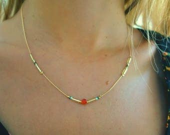 Necklace gold girl Piedra de cornalina gold orange, blue and gold plated beads