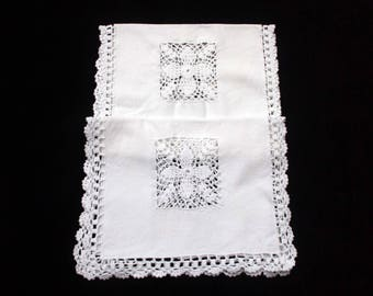 """A Pretty Pair of White Cotton Oblong Traycloths, 17"""" x 11""""."""