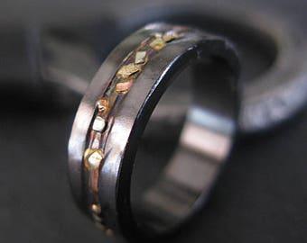 Black Gold Ring Mosaic River 6mm Unisex Ring Mens Rings Mens Wedding Band Viking Wedding Ring Mens Wedding Bands Mens Wedding Rings Unique