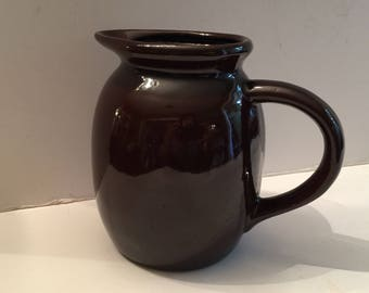 Brown Stoneware Pottery Pitcher Rustic Country Kitchen Decor