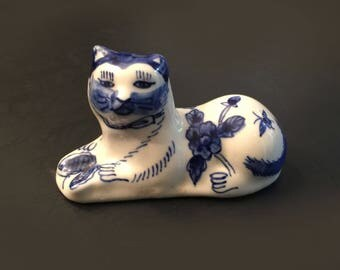 Blue and White Porcelain Cat Figurine Ceramic