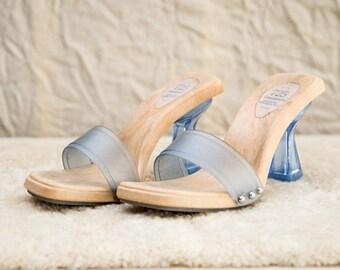 90s 725 Baby Blue Transparent Plastic Slip On Heels • 7