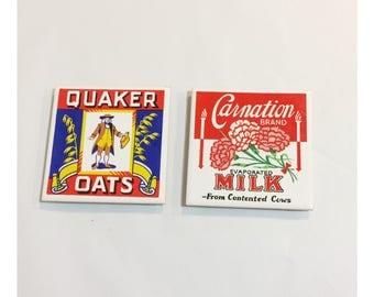 Vintage Country Kitchen Ceramic Trivet Set Quaker Oats and Carnation Milk
