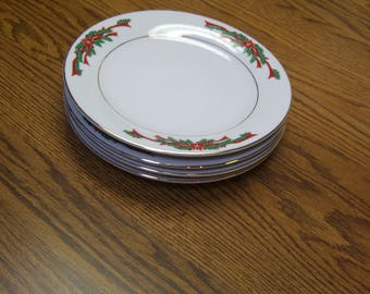 """4 Tienshan Poinsettia and Ribbons Christmas Fine China 7.5"""" Bread Plate/Gold Trim"""