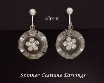 Clip On Earrings: Silver Plated Costume Clip-on Earrings with Spinning Crystals Center | Fashion Earrings, Drop Earrings Clipon Earrings 275