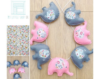 Nursery pink and grey elephant felt bunting / garland - with elephant ears in Liberty fabric Betsy Tana Lawn fabric