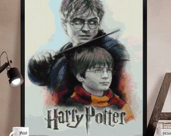 Harry Potter Cross stitch pattern modern.  Harry Potter cross stitch DPF pattern .Patrón Harry Potter punto de cruz moderno descargable PDF
