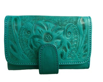 Women Handmade Tooled Genuine Cowhide Leather Wallet. Bifold.  TURQUOISE