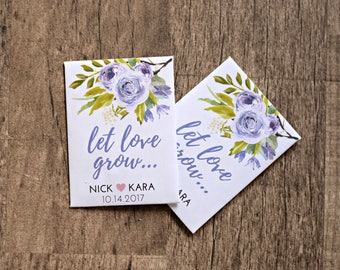 Lavender Floral Let Love Grow Custom Seed Wedding Favors 50 Count SEALED