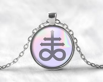 Leviathan Cross Pendant Necklace. Satanic Jewelry, Luciferian, Satanic Necklace, Seapunk, Holograph, Pastel Goth Jewelry, Occult Jewelry