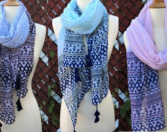 New Fall Winter Pattern Scarf Wrap Thin Lightweight Multi Vivid Color
