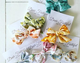 SALE  Hand Tied Vintage Hair Bows  Nylon Head Bands  Vintage Cotton Bows   Baby Headbands  Toddler Hair Bows  Vintage Floral Bows