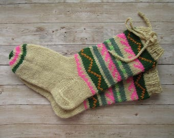 Knitted Wool Socks, Wool Socks with stripes, Hand knit Socks, Striped Socks, Women's Socks, Teen Socks, Christmas Gift