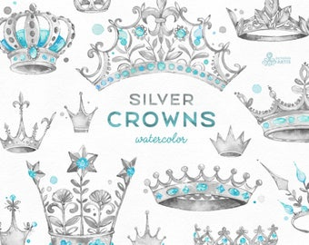 Silver Crowns. 14 Watercolor handpainted Clipart. Royal, diadem, tiara, king, princess, grey, logo, invitation, digital png, style, sticker