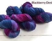 Blackberry Denim, hand dyed yarn, 100% Superwashed  merino wool, 100g / 400m