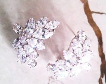 Cubic Zirconia Cluster Bridal Earrings, MOST AMAZING Crystal Bridal Earrings, Crystal Wedding Earrings, Cluster Earrings,Hollywood Glamorous