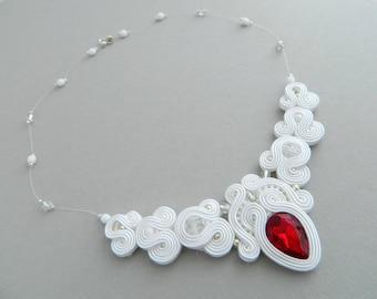 Wedding necklace, wedding jewelry, crystal wedding necklace, statement bridal necklace, red crystal bridal necklace, wedding boho necklace