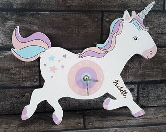 Unicorn, Personalised unicorn clock, bedroom accessorie, clock (00367)