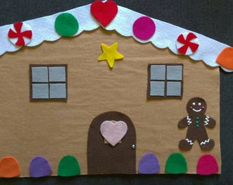 Gingerbread House Felt Set // Flannel Board Set // Preschool // Pretend Play // Winter // holidays