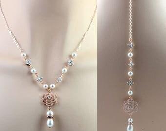 Back Drop Bridal Necklace, Rose Gold Wedding Necklace, Cubic Zirconia Crystals Flower Necklace, Swarovski Pearls Necklace, Backdrop Necklace