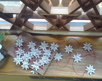 Christmas tree recycled book star garland decoration
