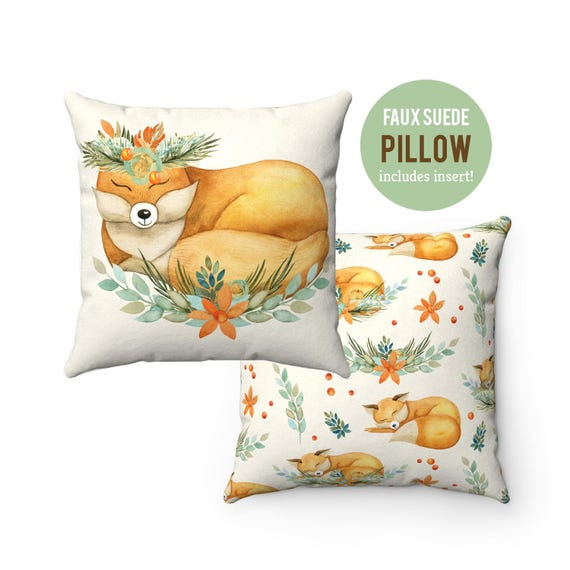 Pillow WITH INSERT - Cute Forest Fox Pillow with Filling - Faux Suede 14x14 Pillow, 16x16 Pillow, 18x18 Pillow, 20x20 Pillow
