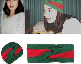 Designer Inspired Green and Red Navy and Red Stripe Headband Turban