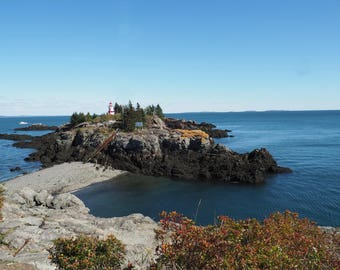 """Lighthouse Photography, """"Lighthouse at Campobello Peninsula"""" Print, Lighthouse Wall Art, Lighthouse Decor, Lighthouse Card, Travel Note Card"""