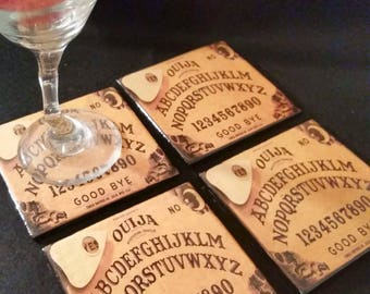 handmade brown Ouija board ceramic drink coasters magick halloween