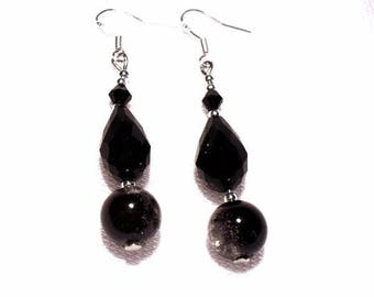 Earrings black pearls, 925 sterling silver ear wires