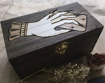 The Witches Hand Tarot Box / Altar Box / Wood Burned Witches Toolbox