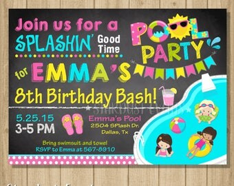 Chalkboard Pool Party Invitation, Pool Party Invitation, Girl Pool Party Invitation, Girl Pool Party Birthday Inivtation, Girl Pool Party