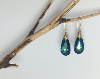 12 kt gold filled bermuda blue swarovski crystal