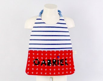 Serviette de cantine personnalisée prénom coordonnée sac loup école maternelle rouge bleu marine style marin serviette de table garçon