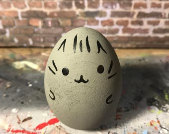 Hand Painted Wooden Egg Doll Inspired by Pusheen