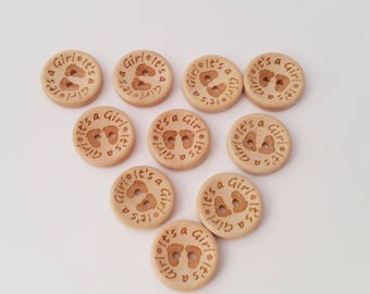 Buttons, baby buttons, wood buttons, Its A Girl, baby feet, sewing buttons, 10 buttons, novelty buttons, craft supplies, painted buttons
