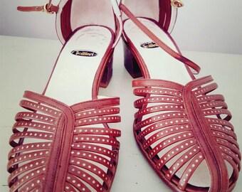 Vintage sandalias - sandalias de cuero italiano tamaño 4.5 de Trobbiani. Ideas de traje de fiesta. Sandalias boho. Zapatos vintage