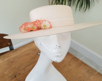 Vintage hat - with floral detial to fit head 53cms sun hat summer hat