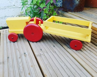 Vintage wooden tractor and trailer - pull along tractor