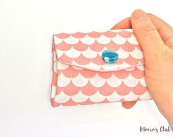 Coin Purse-Smart Wallet-coin Purse-Cash System-Portaspicci with pink and white waves