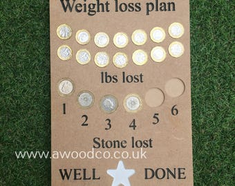 U.K Weight Loss Tracker Goal Board. Money collector - GOAL Calender - engraved and hand-painted