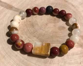 Essential oil diffuser bracelet with lavav rock, italian onyx and mookaite gemstone beads- 5 & 3/4 inch