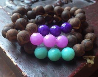 Matte Dzi Agate + Jade (Aqua, Purple + Pink) | Spiritual Junkies | Stackable Mala Inspired | Funky Chunky 10 mm | Yoga + Meditation Bracelet