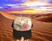 Floral, desert, floral hat, floral trucker hat, womens hat, womens fashion, gift, gift for her, womens gift, trucker hat