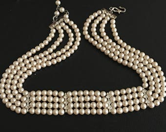 Vintage Monet Faux Pearl Choker Necklace Multi-Strand Wedding Bridal Formal - Four Strand Necklace