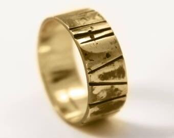 8mm Hand Cut Oxidised 18ct Gold 'Glenclach' Wedding Ring