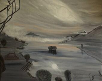 Figurative oil painting - Painting oil mist morning Lake Lake (dept. 34) 60 x 73 cms