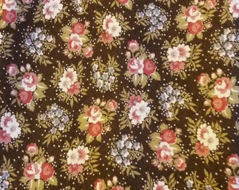 two fabric Coupons has Brown and pink flowers